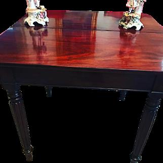 George III Antique Period Tea or Game Table w/Concertina Motion Cuban Mahogany Circa 1780!