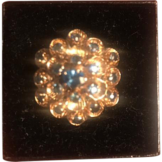 Offered for sale is this beautiful vintage 14k gold ring with blue sapphires! The ring is in very good condition! IT has been sized so the 14k stamp is not present but it has been tested.The size size is aprox a 6.5.