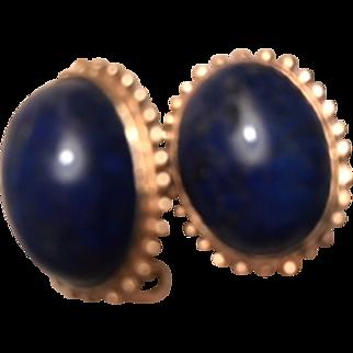 Elegant Lapis 14k Gold Vintage Earrings French Clip Backs VGC!