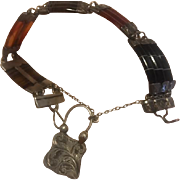"Beautiful 7"" Antique 19th Century Agate & Sterling Bracelet"