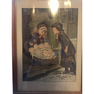 M.E. Edwards Antique print of Christmas buggy of dolls