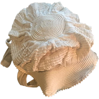 Beautiful antique circa 1890 baby bonnet for toddler gorgeous white work