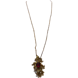 "16"" Vintage Middleeastern Necklace Pendant Red Garnet w/ seed pearls 14k"