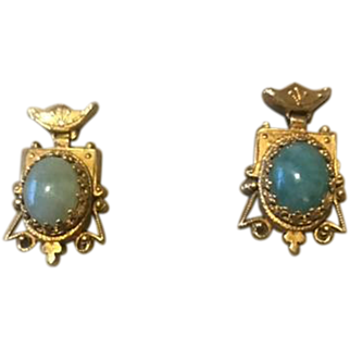 Vintage Jade Earrings EC Circa 1940 14K