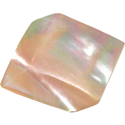 Mother of Pearl Brooch Carved Square Optical Illusion Cube