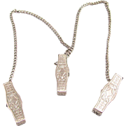 Vintage Triple Baby Bib Clips Engraved Silver Tone with Chain