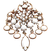 Vintage White Rhinestone Brooch w Dangles Rose Gold Tone Metal