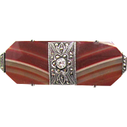 Victorian Banded Agate Brooch Sterling Silver and Marcasites