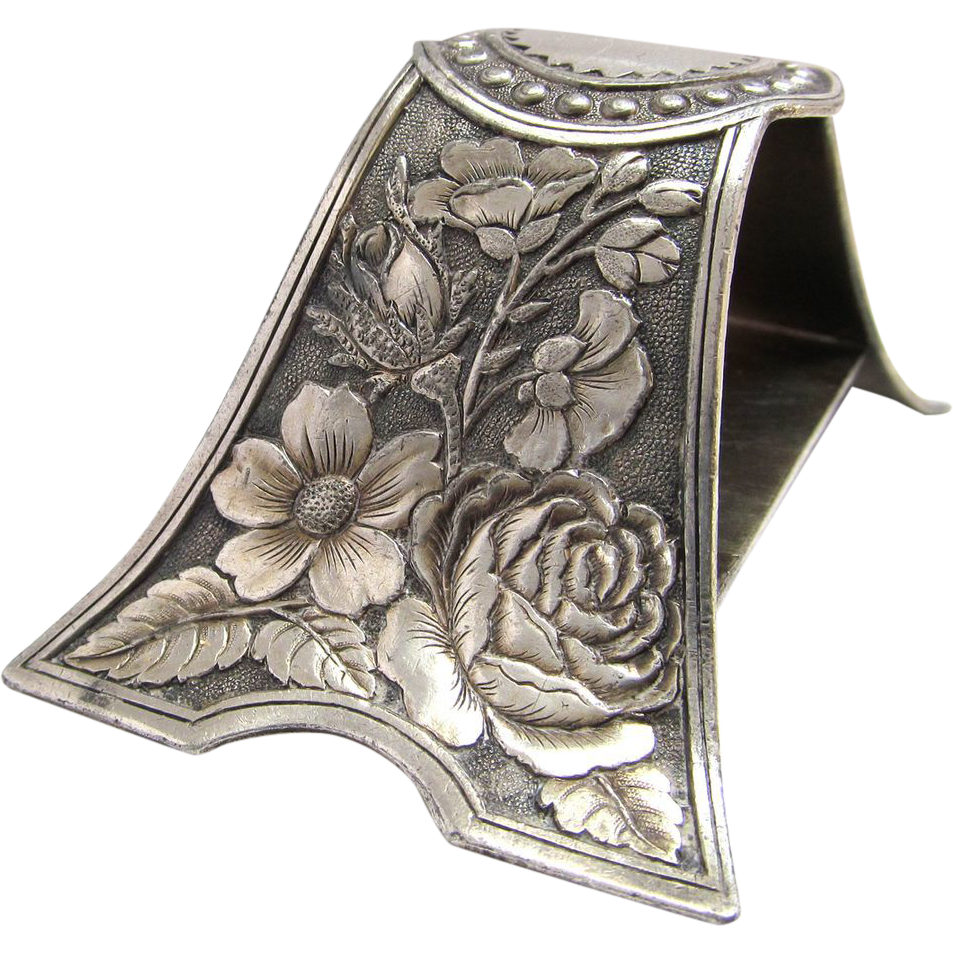 Victorian Tufts Silver Plate Arched Foliate Napkin Ring Aesthetic Era