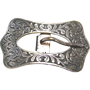 Art Nouveau Belt Buckle Repousee Silvertone Metal Rectangle