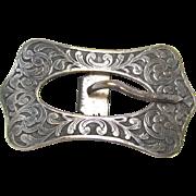 Art Nouveau Belt Buckle Repousee Silvertone Metal Rectangle