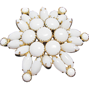 Huge White Milk Glass Round Dome Brooch