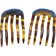 Matching Pair Celluloid Blue Rhinestone Hair Combs