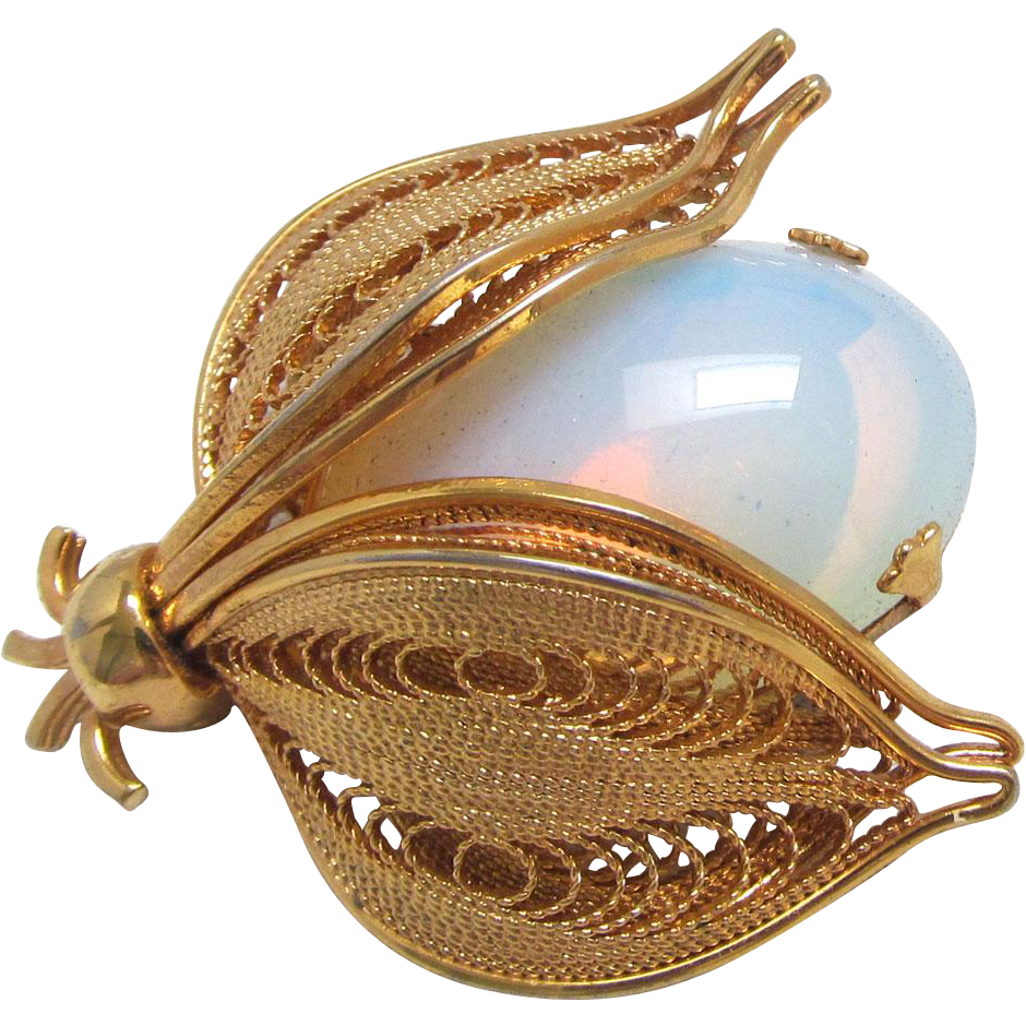 Signed Napier Insect Brooch Faux Moonstone with Filigree Wings