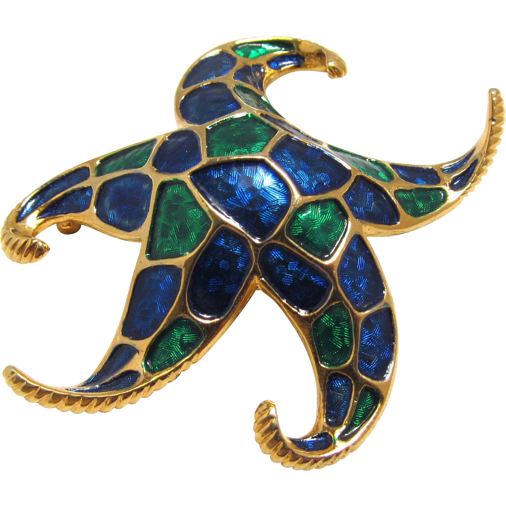 Marcel Boucher Signed Star Fish Brooch Enamel Blue and Green