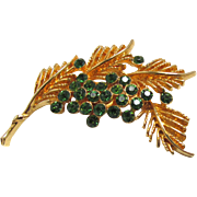 Coro Christmas Holiday Brooch Green Rhinestones on Pine Branches