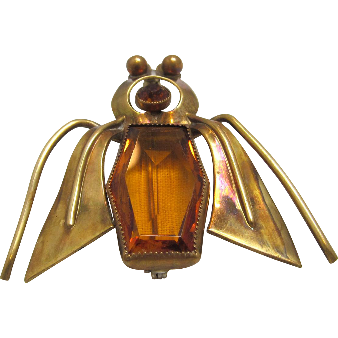 Large Modernist Bug Brooch Topaz Color Glass Rhinestone Body