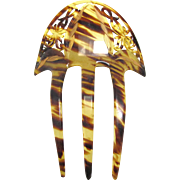 Large Decorative Celluloid Hair Comb with Gold Paint