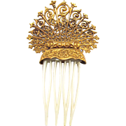 Victorian Revival Gold Tone Filigree Hair Comb - Red Tag Sale Item
