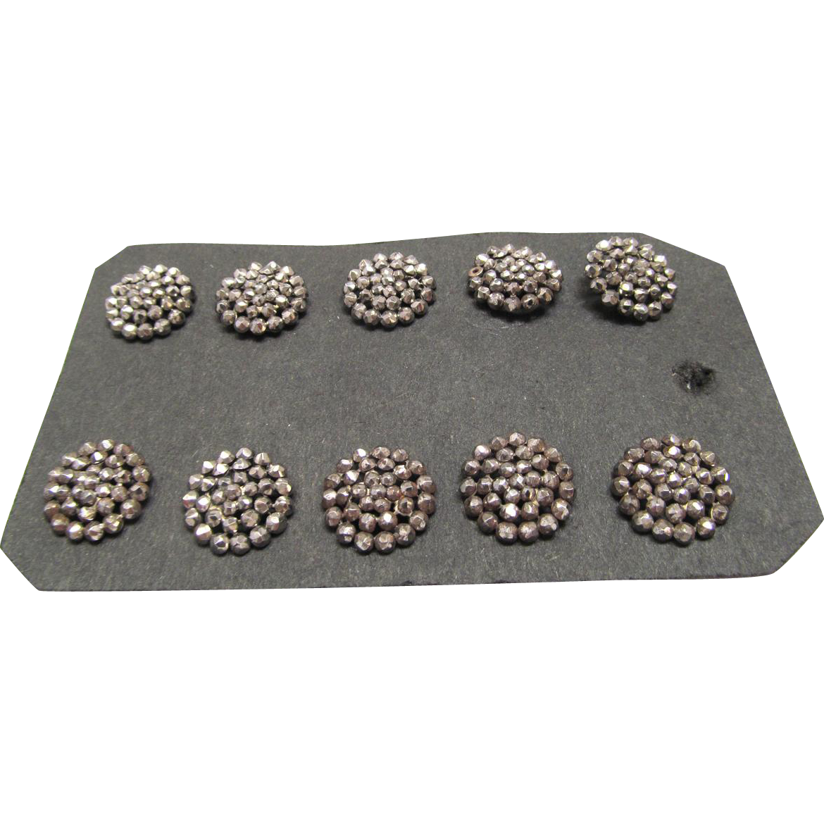 Set Buttons 10 Matching Early Victorian Riveted Steel Cut Bead