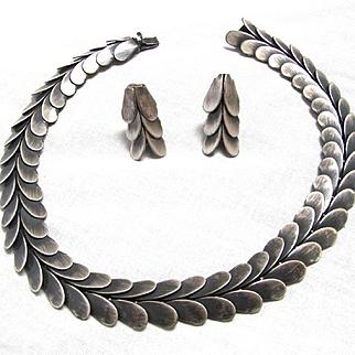 Rebajes Modernist Set Choker Necklace Earring Oxidized Silver Tone