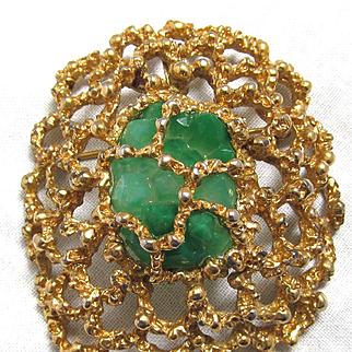 Panetta Modernist Brooch Pendant Caged Green Stone