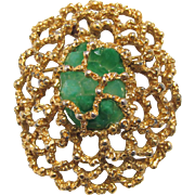 Panetta Modernist Brooch Pendant Caged Green Stone