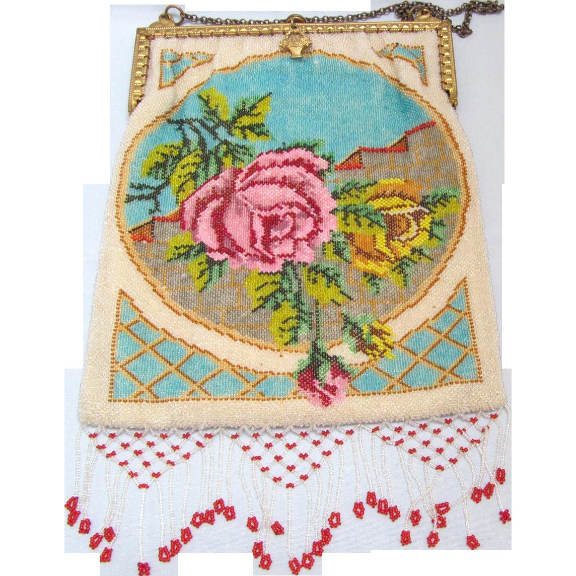 Vintage Micro Beaded Purse Handbag Rose Floral Multicolor Design