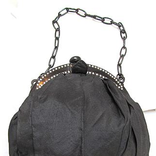 Art Deco Black Silk Purse Rhinestone and Celluloid Frame