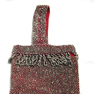 Victorian Cut Steel Bead Wristlet Red Crocheted Fringed Purse