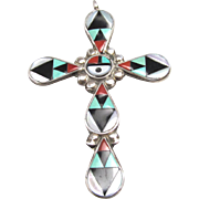 Zeno and Mary Edaakie Pendant Inlaid Zuni Cross with Sunface Signed ZME