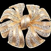 Vintage Rhinestone Brooch Elegant Bow