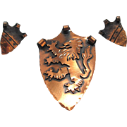 Hand Hammered Copper Brooch Set Heraldic Shield with Lion Rampant