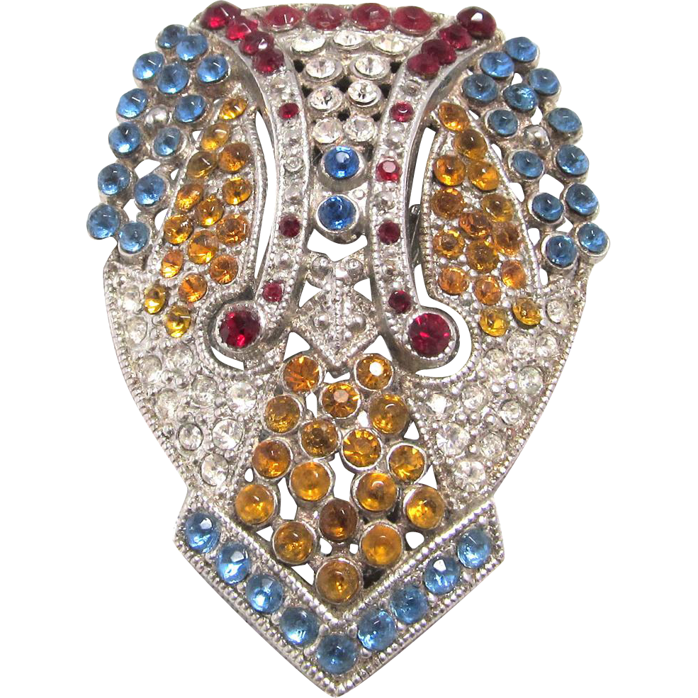 Lisner Dress Clip Multi Color Rhinestone Art Deco Design Signed