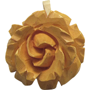 Carved Bakelite Rose Pendant in Butterscotch Yellow