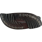 Art Deco Celluloid Bypass Bracelet with Rhinestones Smoky Gray