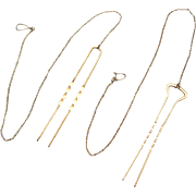 Two Victorian Hair Pins Double Prongs with Chain