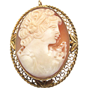 Hand Carved Shell Cameo Brooch Pendant Gold Tone Filigree Setting
