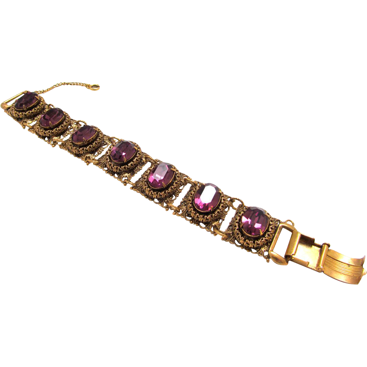 Victorian Revival Filigree Bracelet Large Royal Purple Rhinestones