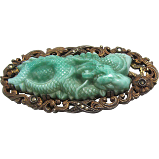 Art Deco Molded Glass Dragon Brooch with Marcasites