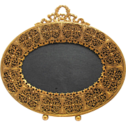 Antique Filigree Oval Gilt Picture Frame Red Velvet Easel Back