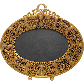 Antique Filigree Oval Gilt Picture Frame Red Velvet Easel Back