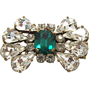 Art Deco Paste Brooch Brilliant Rhinestone Stylized Bow