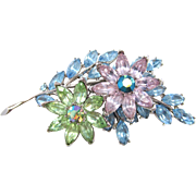 Crown Trifari Tiered Rhinestone Floral Brooch in Pastel Colors
