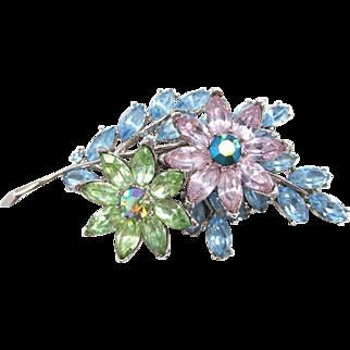 Crown Trifari Tiered Rhinestone Floral Brooch in Pastel Colors