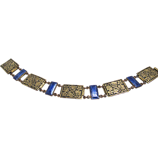 Bracelet with Stamped Brass and Carved Blue Glass Links Transitional Piece