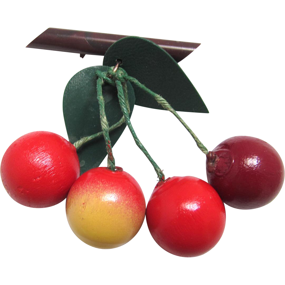 Dangling Cherry Brooch Wood and Bakelite