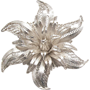 Silver Filigree Brooch Delicate Flower Pin