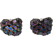 Vintage Swank Lava Glass Cufflinks Iridescent Black
