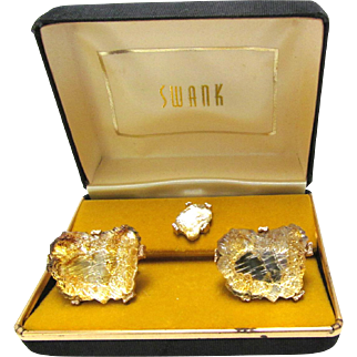 Vintage Swank Golden Lava Glass Cufflinks and Tie Tack Set Original Box